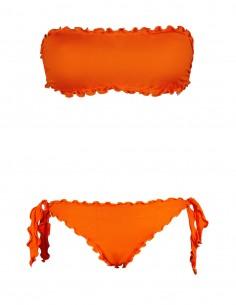 Bikini frou frou arancio composto da fascia  e slip o brasiliana con lacci