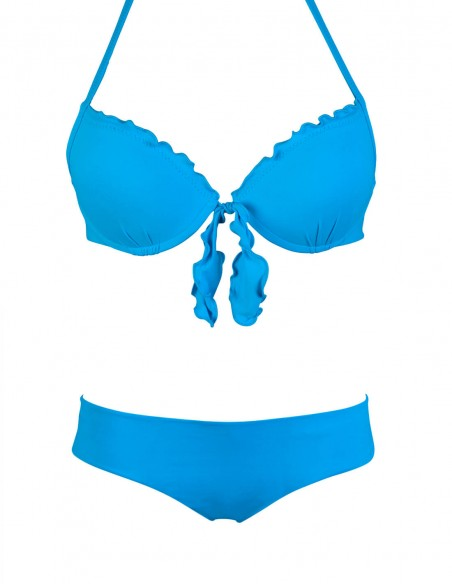 Bikini frou frou azzurro cielo composto da super push up con fiocchi e coulottina brasiliana Hiris