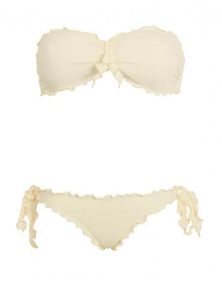 Bikini frou frou panna composto da fascia con fiocco e slip o brasiliana con lacci