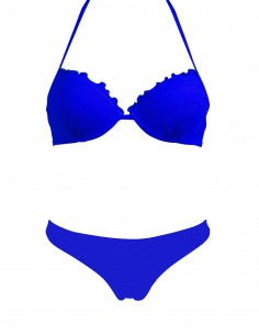 Bikini frou frou blue oltremare composto da super push up e brasiliana senza cuciture beatriz