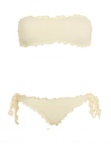 Bikini frou frou panna composto da fascia  e slip o brasiliana con lacci