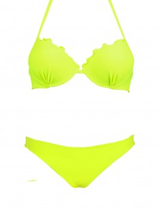 Bikini frou frou giallo fluo composto da super push up e brasiliana senza cuciture beatriz