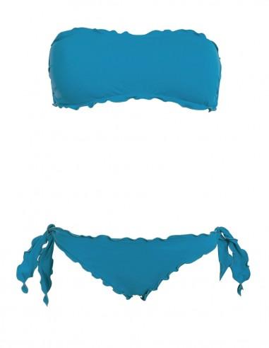 Bikini frou frou petrolio composto da fascia  e slip o brasiliana con lacci