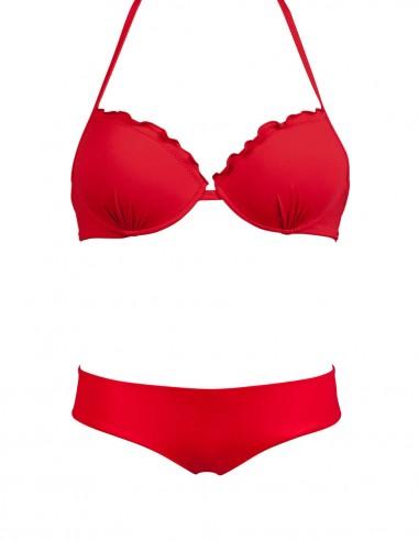 Bikini frou frou rosso composto da super push up e coulottina brasiliana Hiris
