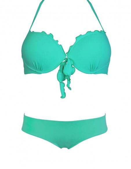Bikini frou frou tiffany composto da super push up con fiocchi e coulottina brasiliana Hiris