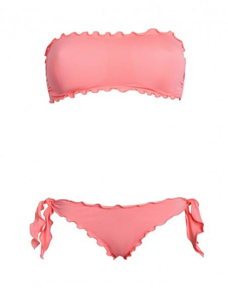 Bikini frou frou salmone composto da fascia  e slip o brasiliana con lacci