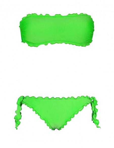 Bikini frou frou verde fluo composto da fascia  e slip o brasiliana con lacci