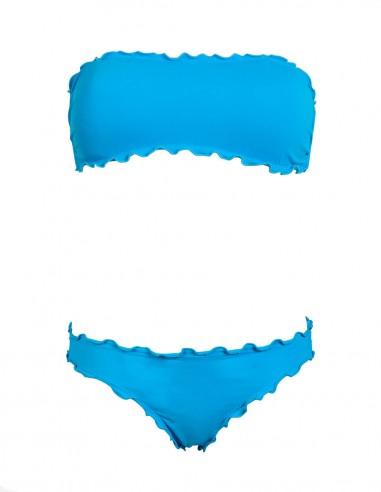 Bikini frou frou azzurro cielo composto da fascia  e slip o brasiliana senza lacci