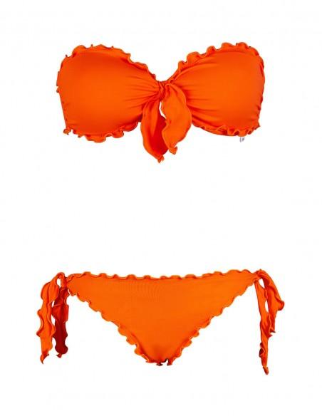 Bikini frou frou arancio composto da fascia con fiocco e slip o brasiliana con lacci