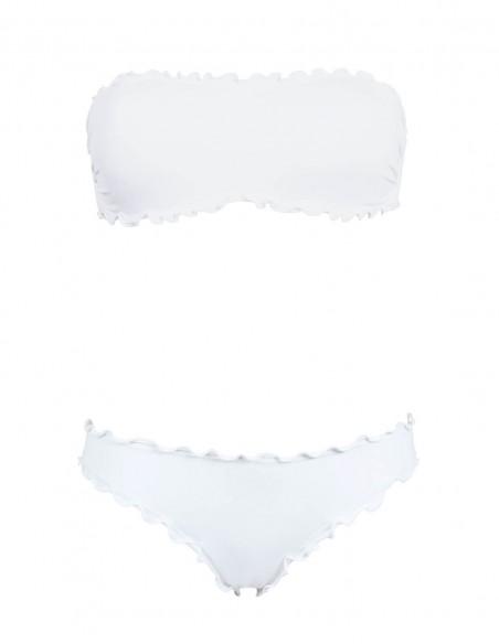 Bikini frou frou bianco composto da fascia  e slip o brasiliana senza lacci