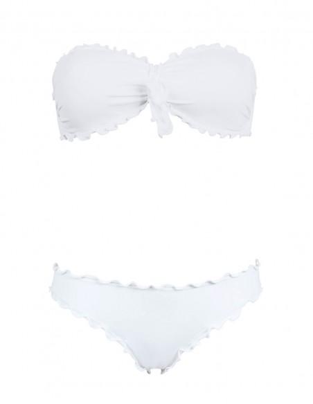 Bikini frou frou bianco composto da fascia con fiocco e slip o brasiliana senza lacci