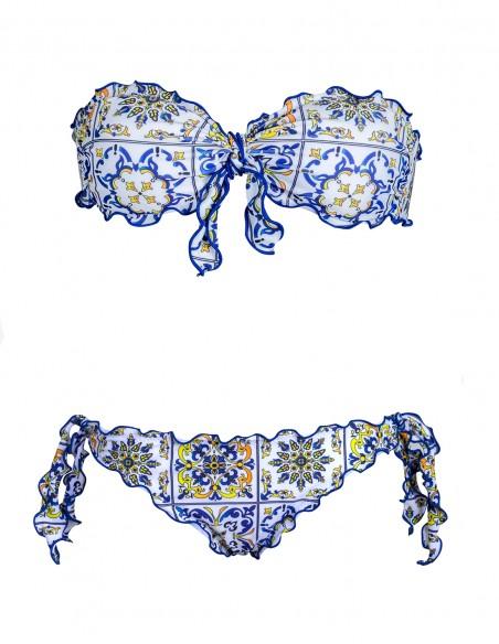 Bikini frou frou Amalfi composto da fascia con fiocco e slip o brasiliana con lacci