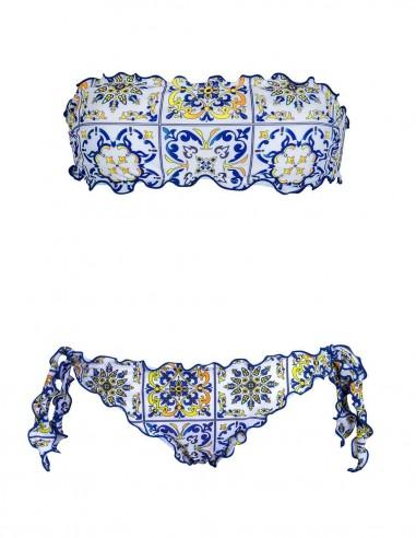 Bikini frou frou Amalfi composto da fascia e slip o brasiliana con lacci