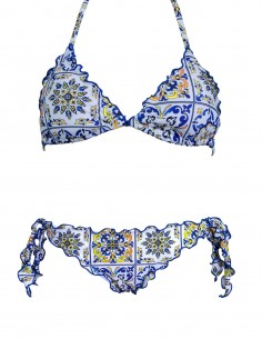 Bikini frou frou fantasia Amalfi composto da triangolo frou frou e slip o brasiliana con lacci