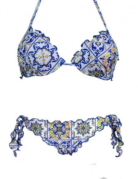 Bikini frou frou fantasia Amalfi composto da reggiseno super push up e slip o brasiliana con lacci