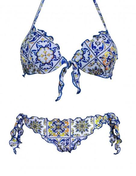 Bikini frou frou fantasia Amalfi composto da reggiseno super push up con fiocco e slip o brasiliana con lacci