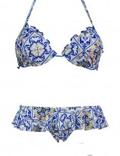 Bikini frou frou fantasia Amalfi composto da reggiseno super push up e slip o brasiliana volant