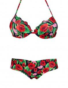 Bikini super push up fantasia Fenicotteri con coulottina brasiliana Hiris