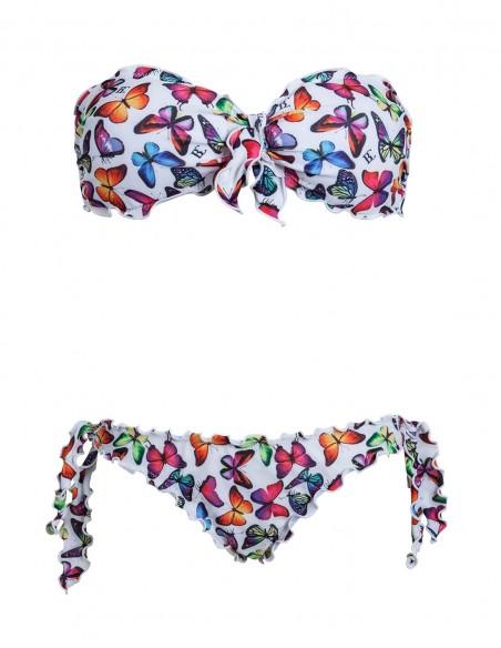 Bikini frou frou farfalle fondo bianco composto da fascia con fiocco e slip o brasiliana con lacci