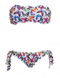 Bikini frou frou farfalle fondo bianco composto da fascia e slip o brasiliana con lacci