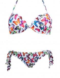 Bikini frou frou fantasia Farfalle su fondo bianco composto da reggiseno super push up e slip o brasiliana con lacci