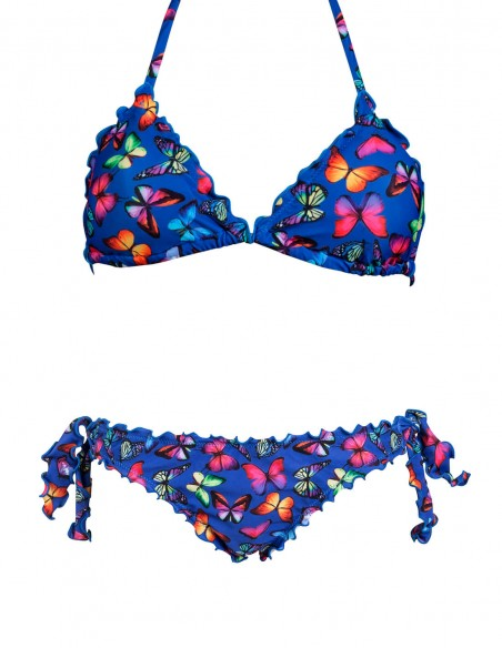 Bikini frou frou fantasia Farfalle su fondo blue composto da triangolo frou frou e slip o brasiliana con lacci
