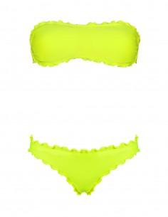 Bikini frou frou giallo fluo composto da fascia con fiocco e slip o brasiliana senza lacci
