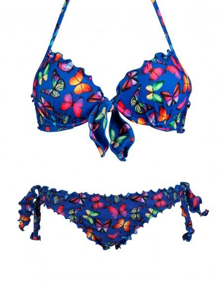 Bikini frou frou fantasia Farfalle su fondo blue composto da reggiseno super push up con fiocco e slip o brasiliana con lacci