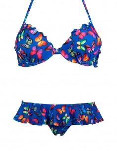 Bikini super push up frou frou con slip con volant Miami o brasiliana con volant Rodi farfalle fondo blue