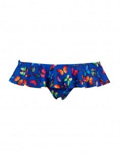 Slip o brasilana con volant fantasia farfalla su fondo blue