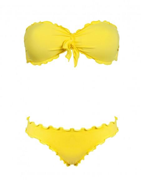 Bikini frou frou giallo composto da fascia con fiocco e slip o brasiliana senza lacci