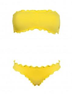 Bikini frou frou giallo composto da fascia  e slip o brasiliana senza lacci