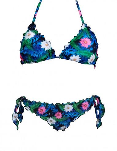 Bikini frou frou Lotus composto da triangolo e slip o brasiliana con lacci