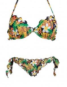 Bikini frou frou fantasia Plumeria composto da reggiseno super push up e slip o brasiliana con lacci