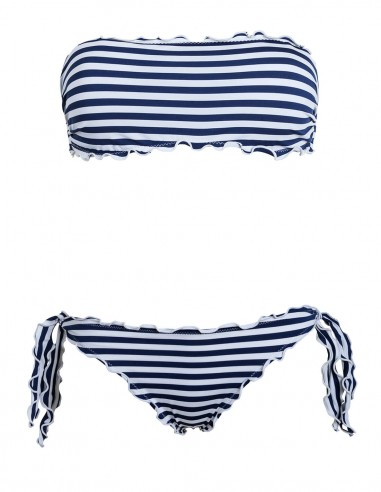 Bikini frou frou Righe Bianco Blue composto da fascia e slip o brasiliana con lacci
