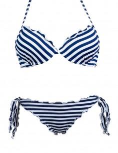 Bikini frou frou fantasia RIghe Bianco Blue composto da reggiseno super push up con fiocco e slip o brasiliana con lacci