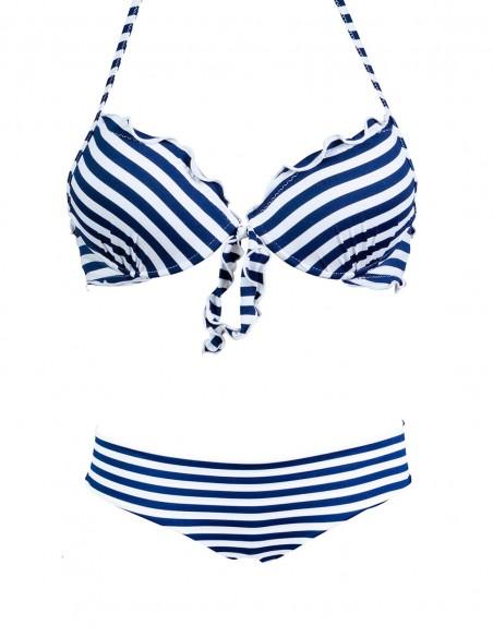 Bikini Super Push up frou frou con fiocco e coulottina brasiliana HIris fantasia Righe Bianco Blue