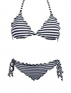 Bikini frou frou fantasia Righe Bianco Nere composto da triangolo frou frou e slip o brasiliana con lacci