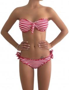 Bikini frou frou Righe Bianco Rosse composto da fascia con fiocco e slip o brasiliana con lacci