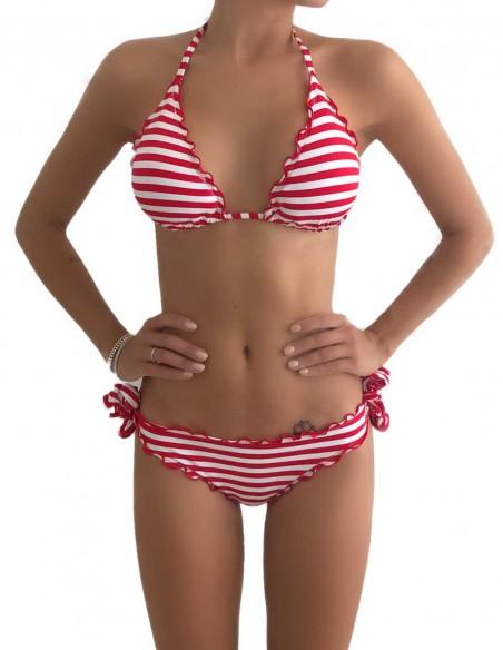 Bikini frou frou fantasia Righe Bianco Rosse composto da triangolo frou frou e slip o brasiliana con lacci