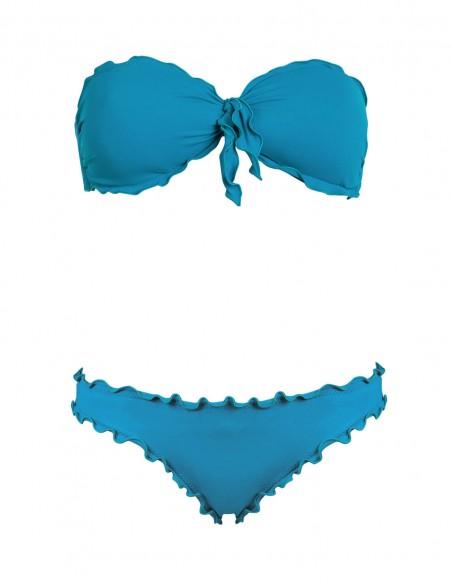 Bikini frou frou petrolio composto da fascia con fiocco e slip o brasiliana senza lacci