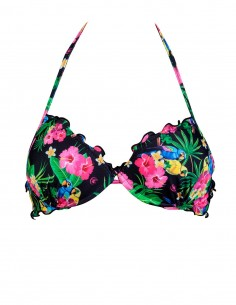 Reggiseno super push up frou frou fantasia Savana Pappagalli Nero