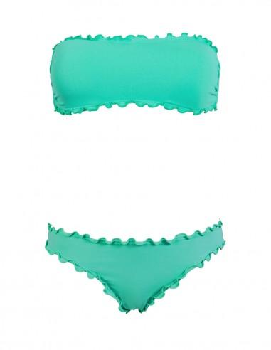 Bikini frou frou tiffany composto da fascia  e slip o brasiliana senza lacci