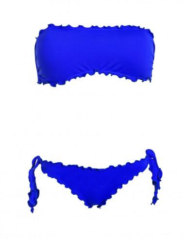 Bikini frou frou blue oltremare composto da fascia  e slip o brasiliana con lacci