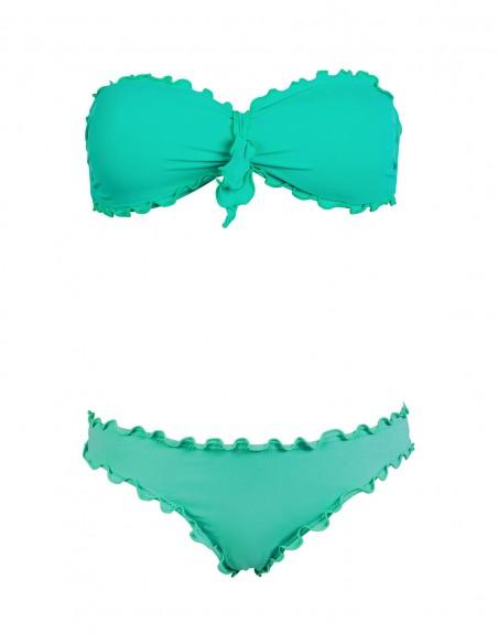Bikini frou frou tiffany composto da fascia con fiocco e slip o brasiliana senza lacci