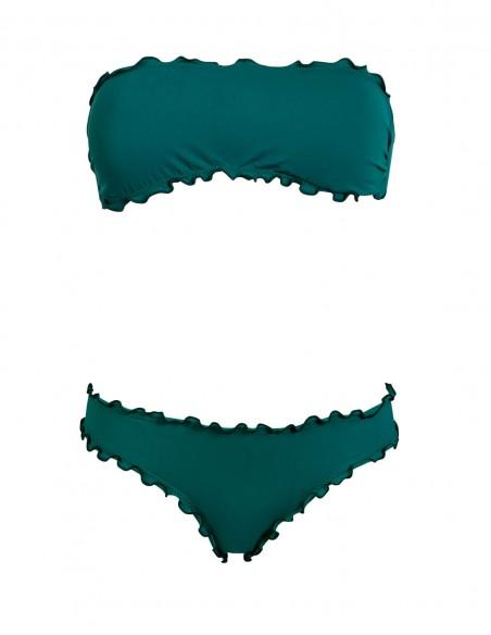 Bikini frou frou verde quercia composto da fascia  e slip o brasiliana senza lacci
