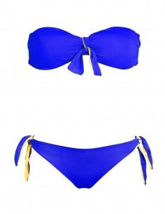 Fascia double face con fiocco blue e giallo