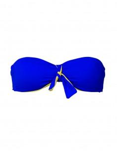Fascia double face con fiocco blue oltremare e giallo