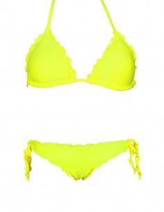 Bikini frou frou giallo fluo composto da triangolo frou frou e slip o brasiliana con lacci