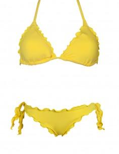 Bikini frou frou arancio composto da triangolo frou frou e slip o brasiliana con lacci